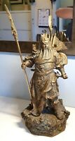 Antique Chinese Brass Dragon Guan Gong Guan Yu Warrior God statue - Stunning