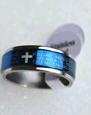 STAINLESS STEEL LORD'S PRAYER(In Spanish) RING BLUE size 7