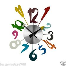 Stylish Wall Clock Multi Colour Big Numbers Time Mountable Funky Metal Plastic