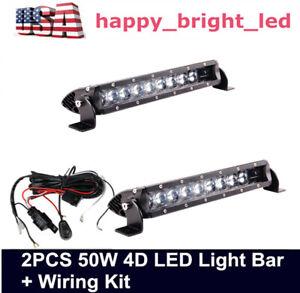 "10""in 50W 4D Slim Single Row LED Light Bar Spot for Jeep 11"" 60W 72W+ Wiring kit"