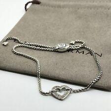 David Yurman Cable Collectibles Heart Station Bracelet w/ Diamonds