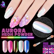 Espejo de polvo de uñas Neón Aurora Efecto Cromo Nail Art Sirena Arco Iris (um-Pro)