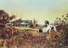 Pheasant Holding Vintage Lithograph Bruce Lattig Hunting English Setter #760