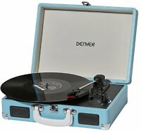 Record Player Blue Denver Attache Case Turntable 3 Speed USB Transfer Portable