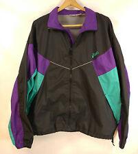 Vtg Asics 90s Sz L Windbreaker Purple Teal Black Colorblock Jacket