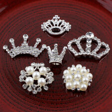 20pcs Metal Decorative Buttons Crystal Pearl Alloy Flatback Rhinestone Buttons