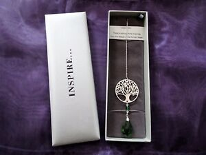 Tree of Life Suncatcher with Green Crystal