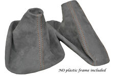 CREAM STITCH MID GREY SUEDE MANUAL GAITER SET FITS BMW 5 SERIES E39 1996-2004