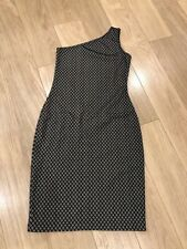 NEW Amazing WOLFORD Black & Cream Nude Lace One Shoulder Dress Size 40