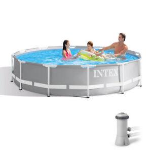 "Intex 12' X 30"" Prism Metal Frame Swimming Pool with 530 GPH Filter Pump 26711EH"