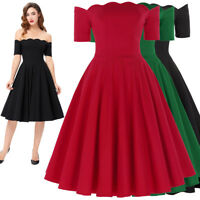 Housewife 50s Retro Vintage Party Short Swing Pinup Evening Prom Ball Gown Dress