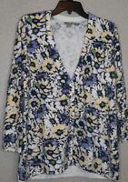 J Jill Womens Size Large Heavy Knit Cardigan Multi Color Floral Long Sleeve...