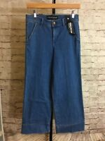 Express Jeans - Wide Leg Crop High Rise Med Wash Jeans - Tag Size 6R- NWT