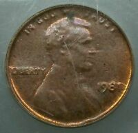 1981 ICG MS63 BR STRUCK THRU CAPPED DIE CENT PENNY MINT ERROR SCARCE