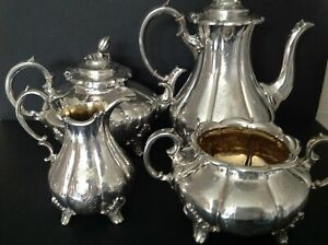 HEAVY 4 PIECE ANTIQUE VICTORIAN STERLING SILVER TEA COFFEE SET HOULE LONDON 1869