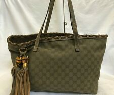 414a78fa02b6 Authentic Gucci Bamboo Tassel Gray Canvas Leather Shoulder Tote Bag