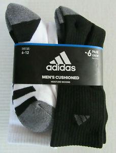 6 Pair Adidas CREW Cushioned BLACK WHITE Socks Moisture Wicking Large Shoe 6-12