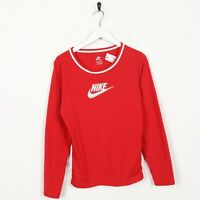 Vintage Women's NIKE Big Spell Out Logo Long Sleeve T Shirt Tee Red | Large L