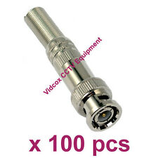100 Solder-less Twist Spring RG59/RG6 Coaxial BNC Male Connector for CCTV Camera
