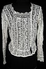RARO francés antiguo victoriano-eduardiano Era hecho a Mano Blanco Blusa OUSE
