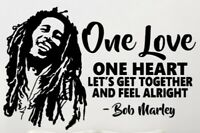 """NEW 35""""x23"""" Bob Marley One Love One Heart Quote Vinyl Wall Art Decal Sticker"""