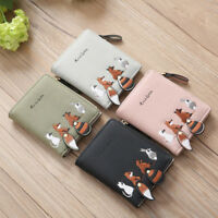 Women Fox Coin Purse Wallet Small Card Holder Key Bag Money Bag Pouch 4 Colors