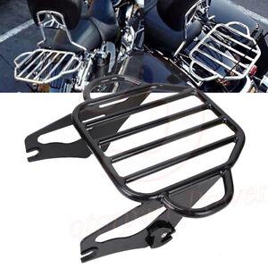 Motorcycle Flat Black King Detachable Luggage Rack For 2009-2017 Harley Touring Road King Street Glide HTT Road Glide