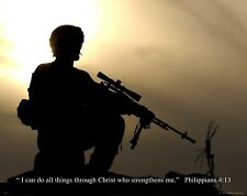 Religious Military Poster Print  Army Marines Soldier Philippians 4:13 RELG35