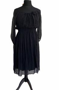 Phase Eight Dress Size 14 Black 100% Silk Knee Length Wedding Party