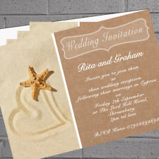 12 x Personalised Wedding Invitations Beach Starfish Abroad | H1675