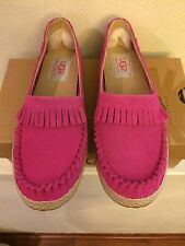 * UGG Girls Youth Kids Size 6 ( Womens 8 ) Pink Moccasin Shoes Slip On K MARIN