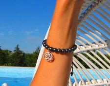 OM Sterling Silver Charm & Natural Gemstone Hematite Handmade Unisex Bracelet