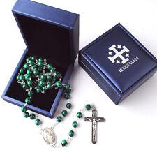 Catholic Jerusalem Rosary Necklace Malachite beads Miraculous Medal and Cross