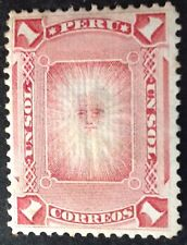 Peru 1880 1 Peso Red stamp with grill mint hinged