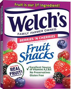 Welch's fruit Snacks Berries 'N Cherries 10 - .9 oz pouches  Net Wt 9 oz