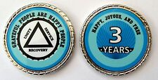 """Alcoholics Anonymous 3 Yr. Aqua Silver Rope Edge Sobriety Coin Chip 1 3/4"""""""