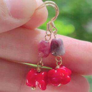 Natural Amethyst red jade Earrings Dangle 18KGP Chain gift Easter Diy