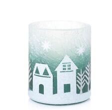 Yankee Candle Winter Village Votive Holder Tea Light Crackle Glass Glitter