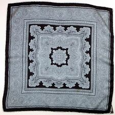Italian Hand Rolled Silk Pocket Square Handkerchief Blue Black Patterned 18 Sq