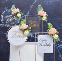Bronzing White Cake Dessert Topper Flower Round Square Happy Birthday Card Decor