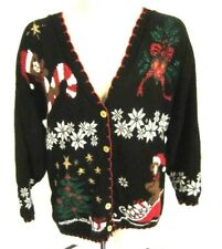 Ugly Christmas Bears Cardigan Sweater Womens V Neck Button Front Black Medium