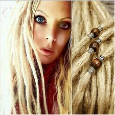 "1 x 20"" Real Human Hair Dreadlock Dreads Blonde with Metal Effect/Wooden Bead"