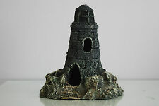 Aquarium Large Old Stone Effect Lighthouse 21x16x22 cms Ship Sea Boats Harbour