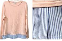 J Crew Women's Size Large Soft Pink Top Striped Pleated Hem L/S Stretch