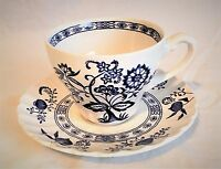 J & G Meakin Classic White Blue Nordic Onion Pattern, Teacup and Saucer