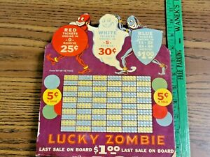 Vintage Gambling Lucky Zombie Halloween Ghosts Punch Card Board Display