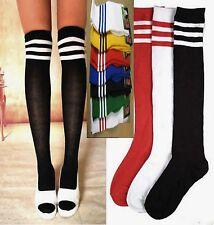 Women Men Knees Medium high Soccer football Stripe Leg Socks Tights Stockings