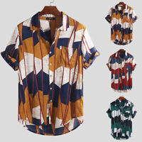 Mens Hawaiian T Shirt Summer Holiday Floral Beach Party Short Sleeve Tops Blouse
