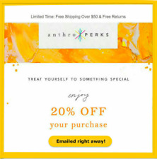 ⚡ E-mail send right away!⚡ANTHROPOLOGIE 20% OFF COUPON CODE Expires 10/30/20