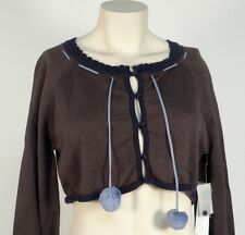Red by Marc Ecko Gray & Blue Midriff Button Front Sweater Womens Large L NWT